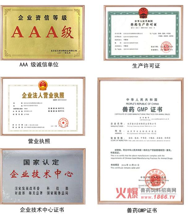 北京金五星动物药业有限公司荣誉资质