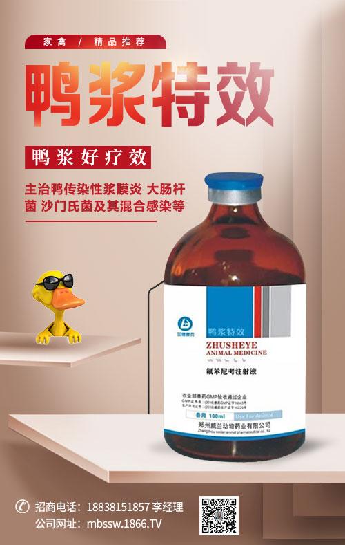 鸭 浆 特 效(用于鸭的传染性浆膜炎)