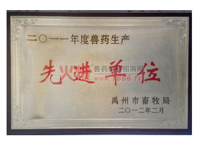 禹州市2012年度兽药生产先进单位-河南黑马动物药业有限公司