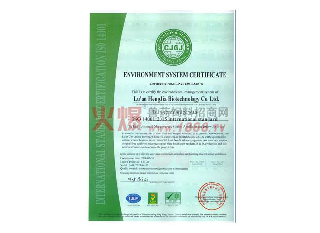 环境管理体系认证证书英-六安恒佳生物科技有限公司