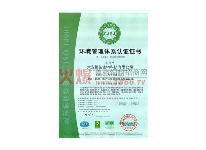 环境管理体系认证证书-六安恒佳生物科技有限公司