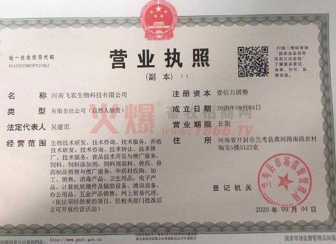 营业执照-河南飞农生物科技有限公司