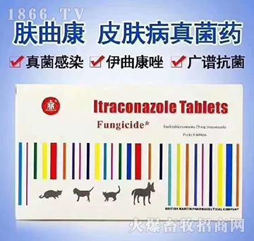 肤曲康-主要用于犬、猫各种浅表、深层真菌感染及全身性真菌病